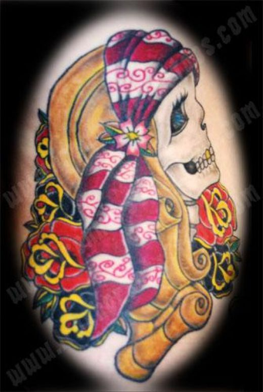 cute skull tattoos. girly skull tattoo designs