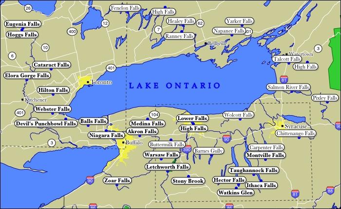 Lake Ontario on us Map Map of Lake Ontario