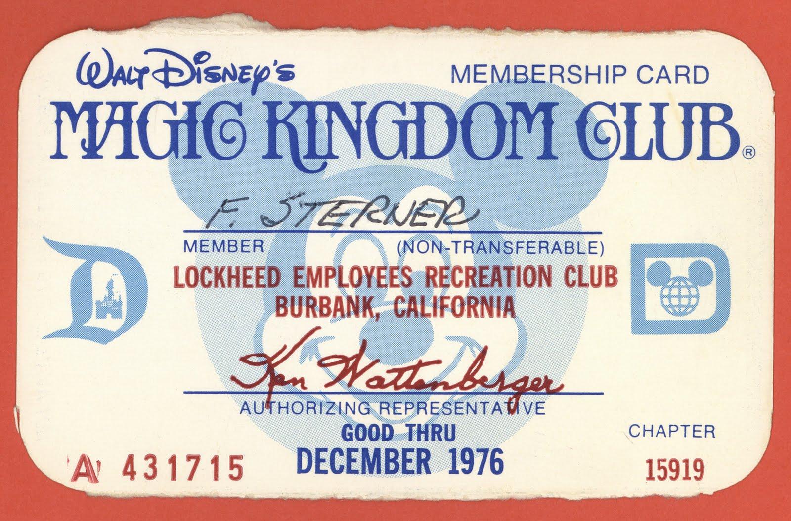 Vintage Disneyland Tickets Magic Kingdom Club Membership