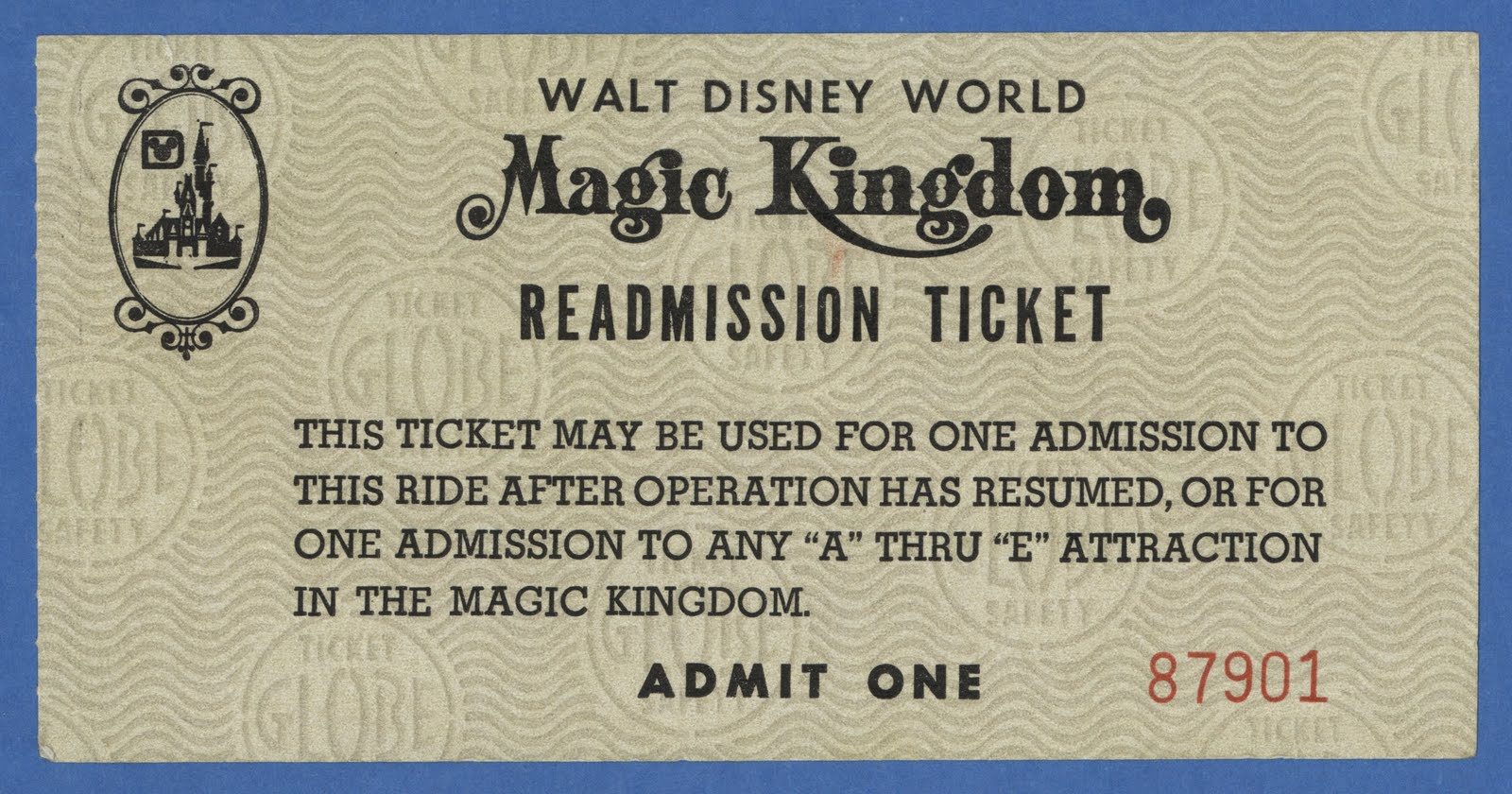 First Walt Disney World Readmission Ticket Ive Seen Or Posted Its Undated But Since The Larger Size It Must Be From Early 1970s