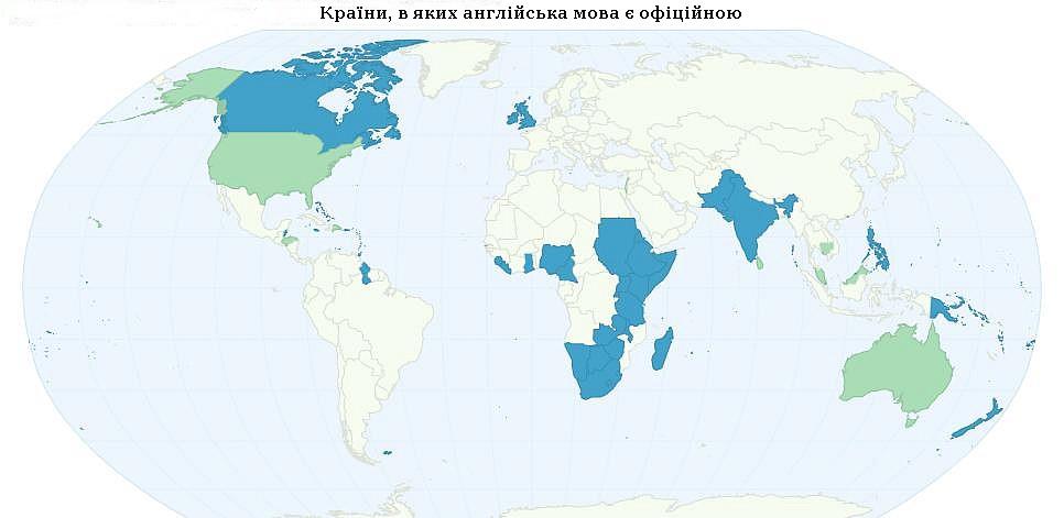 Англомовні країни на карті
