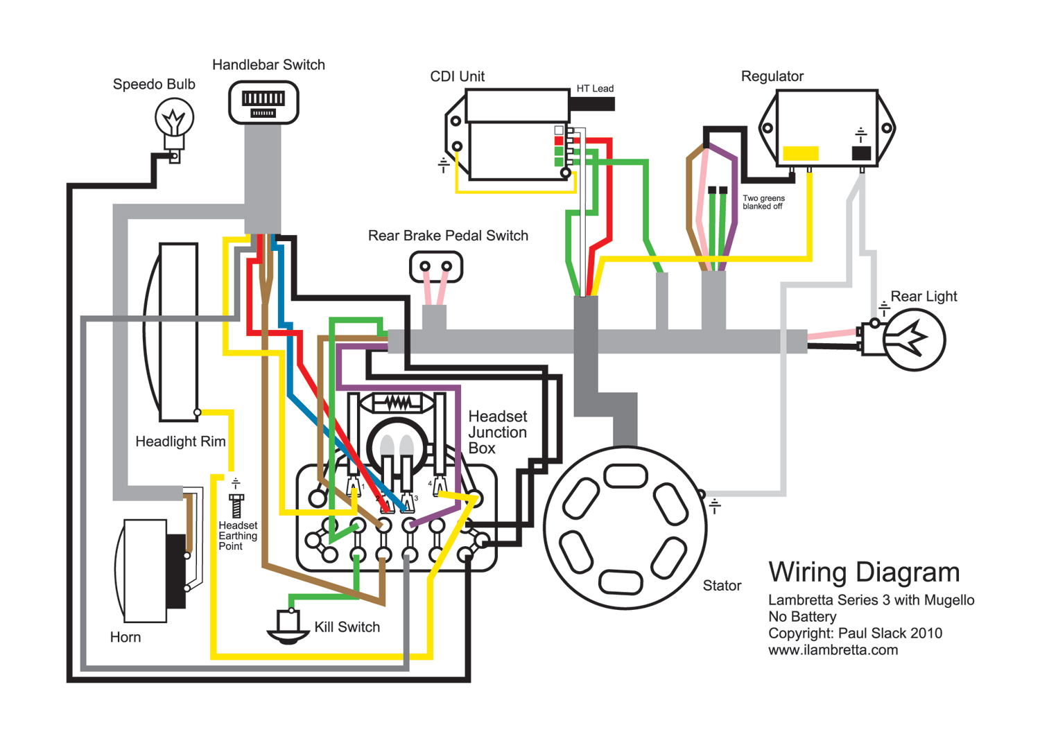 Lambretta Restoration: Wiring Diagram for Mugello 12 Volt Upgrade