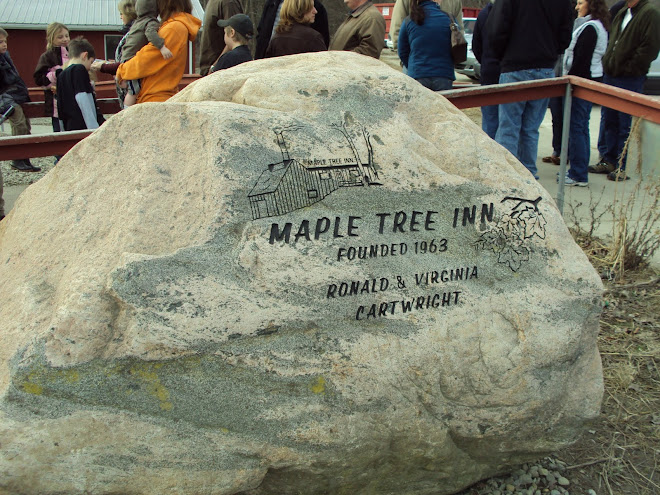 Marking stone outside the popular Maple Tree Inn