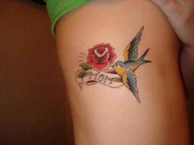 Rose Tattoo With Bird Tattoo