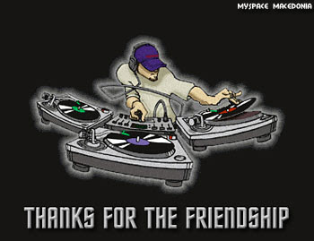 Thanks For The Friendship - DJ Behind Turntables And Mixer (vinyl records, headphones, hat, cap, black, gray)