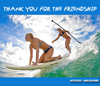 Thank You For The Friendship - Two Girls Surfing In The Sea (water, sky, sexy ladies, babes, chicks, bikini, swimmer, bather, bathing suit, bathing costume, swimming, surf, board, waves, ocean, sport, wind, summer, blue, white, green)