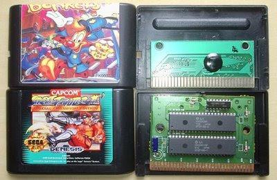 Cartucho Bonkers (sem marca) e Street Fighter II Special Champion Edition (Sega – Americano)