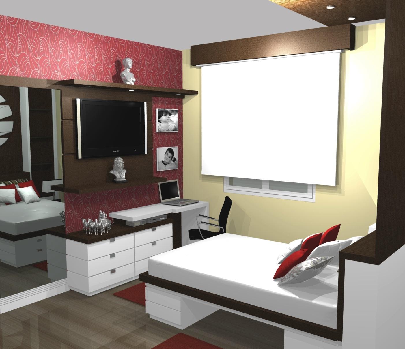 PROJETOS (11) 3976 8616: Dormitório quarto pequeno casal projeto #95363A 1403 1209