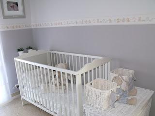 Habitaci n bebe rojo blanco paredes decorar tu casa es - Cenefa habitacion bebe ...