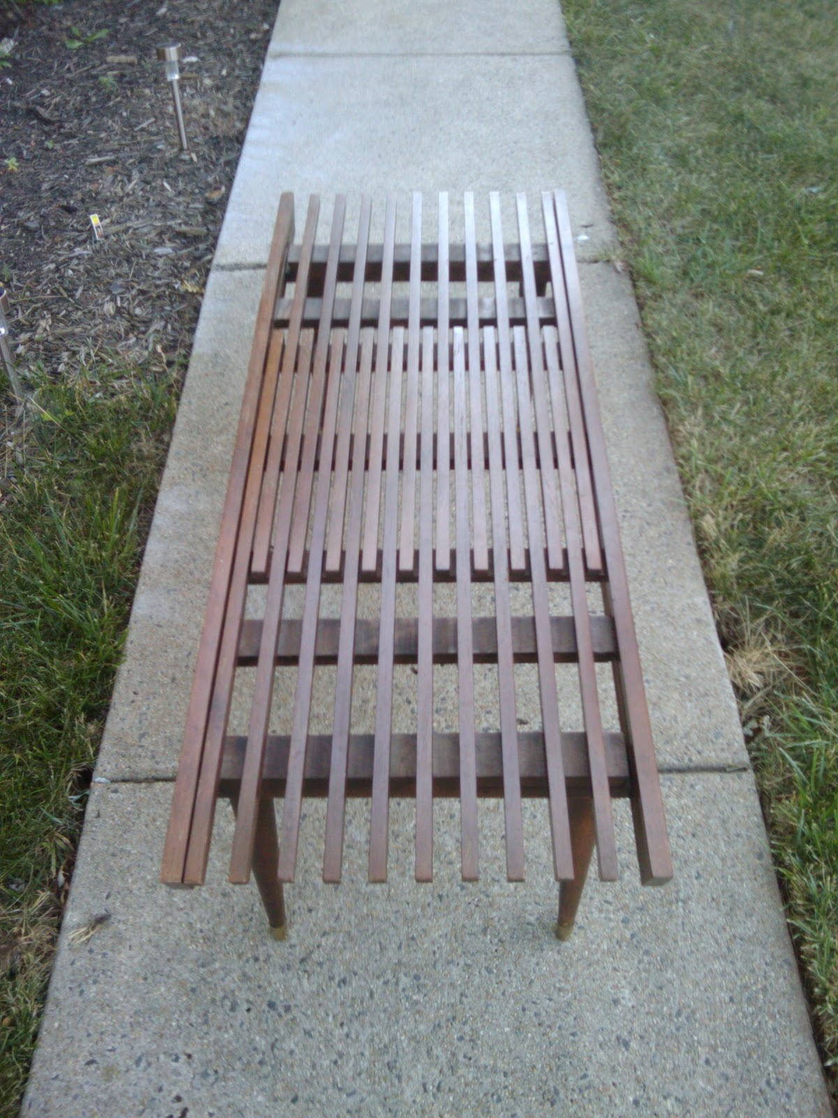 SOLD Expanding Mid Century Slat Bench/Coffee Table: $225