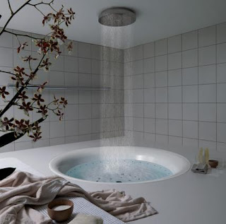 bathroom design with bathtub and rain shower