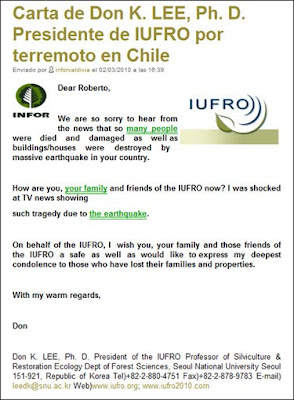 Letter from Dr. Don K Lee, IUFRO President, on Chile Earthquake / Carta del Dr. Don K Lee, Presidente de IUFRO, sobre el terremoto de Chile