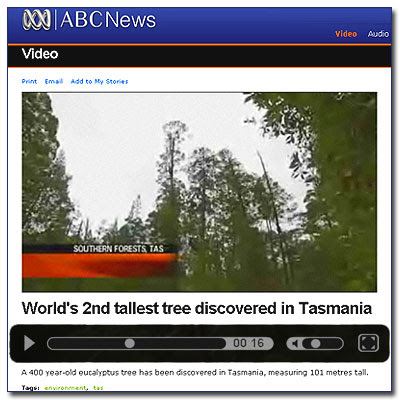 Centurion, tallest Eucalyptus video / Eucalyptologics / Courtesy ABC News