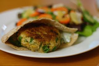 Laine's Recipe Box: Chickpea Cakes with Cucumber-Yogurt Sauce