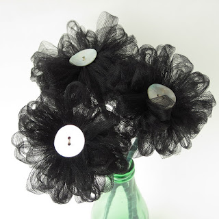 handmade black tulle flowers by ffflowers