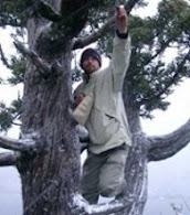 Dan collecting seeds in a Tasmanian blizzard