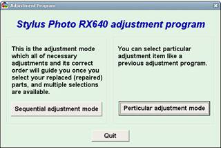 Stylus Photo RX640 Adjustment Program