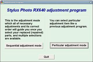 Stylus Photo RX640 Adjustment Program