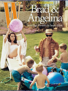angelina jolie,brad pitt and family cover photo of W magazine picture