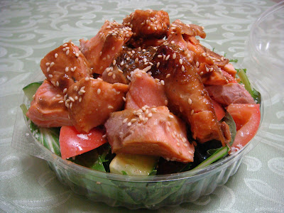 Chunky Miso Salmon Salad - Leftovers for lunch the next day!