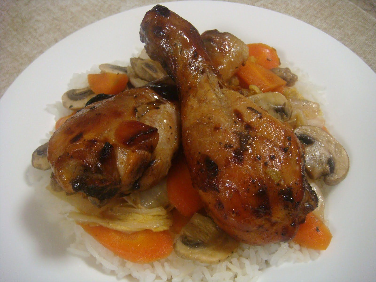 Sticky Chicken Drumsticks with Roast Vegetables and Couscous