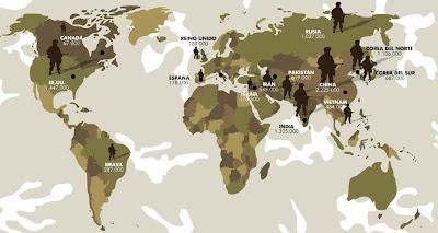 Mapa de los países más militarizados