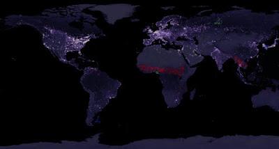 Imagen de la tierra cuando es de noche.