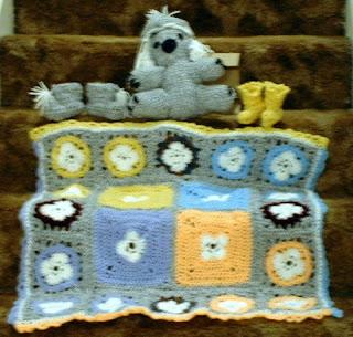 crochet: baby afghan, koala, hat and booties