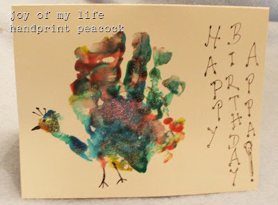 kids crafts handprint peacock