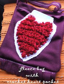 fleece bacg with crochet heart pocket