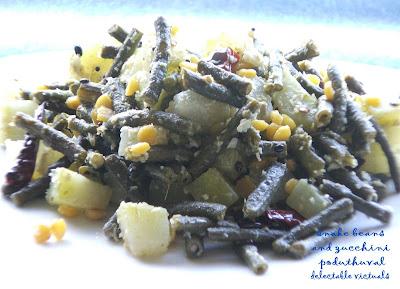 easy recipe poduthuval indian cuisine snake beans zucchini vegetarian