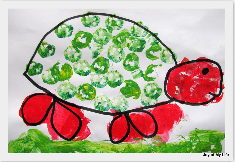 kids art vegetable stamp printing painting with okra potatoes
