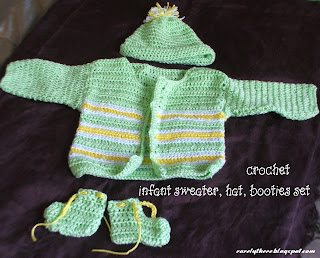 crochet infant sweater set layette pattern hat and booties