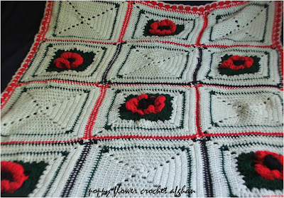 poppy flower granny square crochet afghan pattern