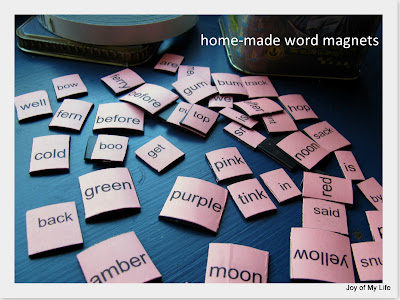 home made word magnets