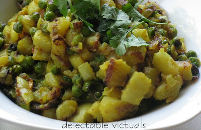 sukha aloo-mattar simple potatoes and peas curry indian vegetarian