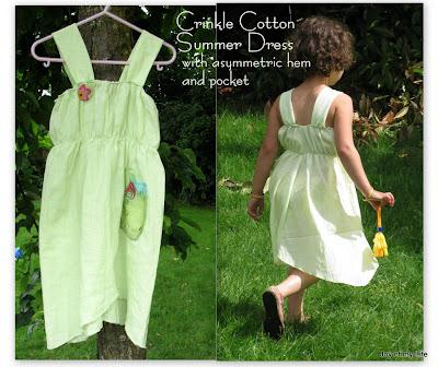 Sewing: Simple Crinkle Cott0n Summer Dress with Asymmetrical Hem