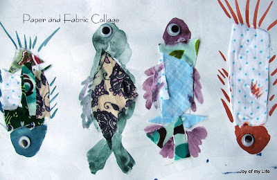 Kids Art: Paper and Fabric Collage self-directed creative expression