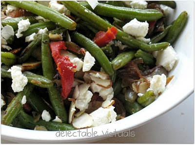 Green bean Salad with Marinated Feta and Roasted Red Bell Peppers