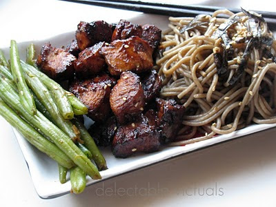 Buckwheat Soba, Teriyaki Chicken and Blanched Green Beans