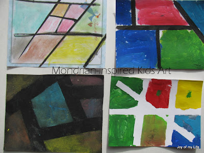 Kids Art: Mondrian-inspired Chalk Pastels and Paintings