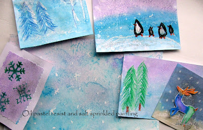 oil pastel resist salt sprinkle kids art winter magic painting