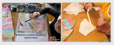 Kids Crafts: Valentine's Day Crafts rubber cement masking watercolor hearts