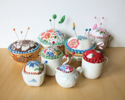 Pincushions created with dolls' china