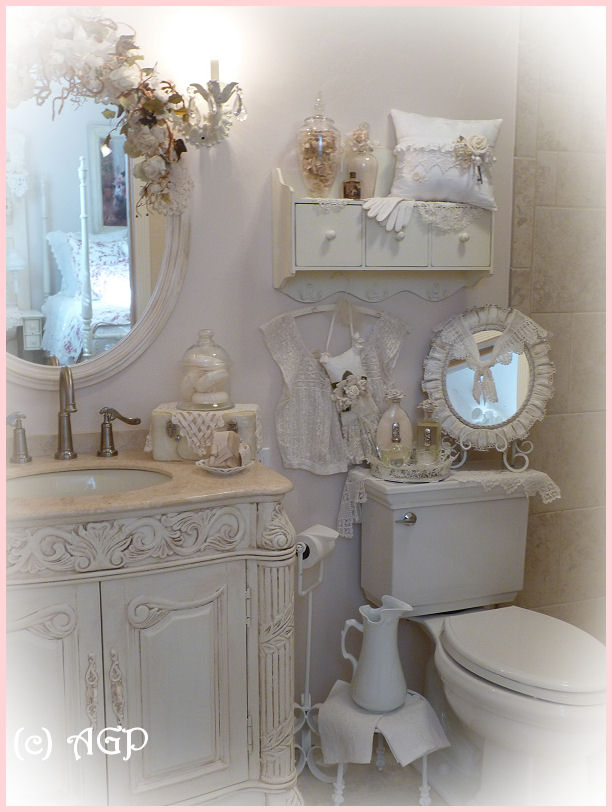 Shabby cottage chic shelf and more bathroom makeover pics for French shabby chic bathroom ideas