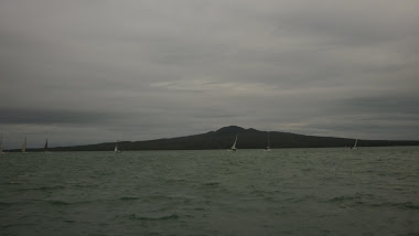 On the boat passed Mt Rangitoto
