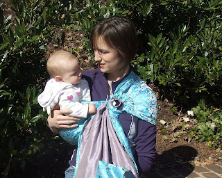 Sierra in double layer ring sling lavendar silk with turquoise and lavendar brocade