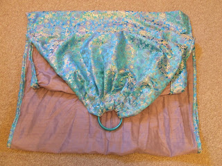 double layer ring sling lavendar silk with turquoise and lavendar brocade
