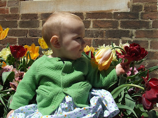 Sierra among the flowers outside Walker Building, Woodberry Forest School