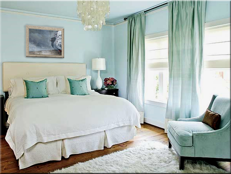 Art and Interior: A Bedroom in Turquoise and a Rain Dancer on the Wall